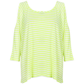 View Item Neon Yellow and White Cut Out Shoulder Top